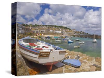 Small Boat on Quay and Small Boats in Enclosed Harbour at Mousehole, Cornwall, England