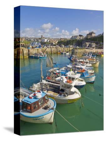 Small Fishing Boats in the Harbour at High Tide, Newquay, North Cornwall, England, United Kingdom,