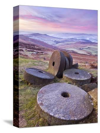 Stanage Edge Wheelstones (Millstones) and Frosty Winter Moorland Sunrise, Peak District National Pa