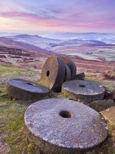 Stanage Edge Wheelstones (Millstones) and Frosty Winter Moorland Sunrise, Peak District National Pa by Neale Clark