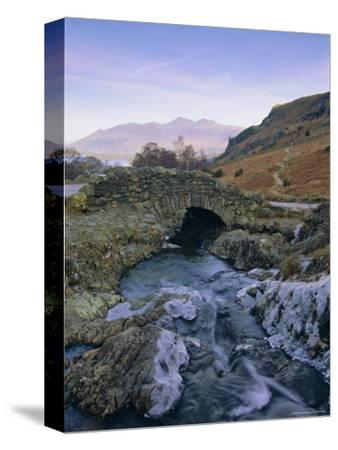 Ashness Bridge and Frozen Beck, Lake District National Park, Cumbria, England, UK, Europe