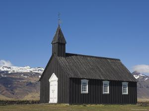 Black Timber Church at Budir, Snaefellsnes Peninsula, North West Area, Iceland, Polar Regions by Neale Clarke