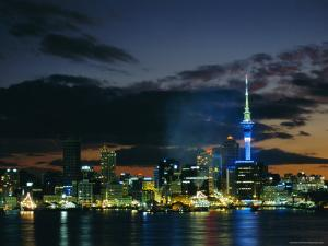 City Skyline at Night, Auckland, North Island, New Zealand, Pacific by Neale Clarke