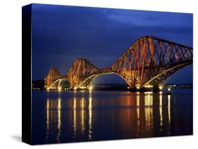 Forth Railway Bridge at Night, Queensferry, Edinburgh, Lothian, Scotland, United Kingdom