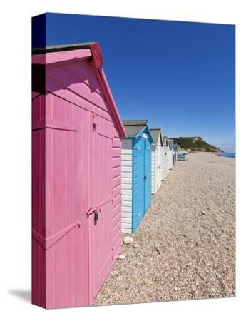 Multicoloured Beach Huts at Seaton, Devon Heritage Coast, UNESCO World Heritage Site, England