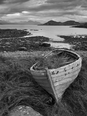 Sunset, Old Blue Fishing Boat, Inverasdale, Loch Ewe, Wester Ross, North West Scotland