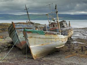 Wrecked Fishing Boats in Gathering Storm, Salen, Isle of Mull, Inner Hebrides, Scotland, UK by Neale Clarke