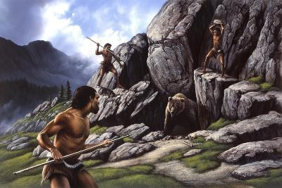 Neanderthals Hunt a Cave Bear--Art Print