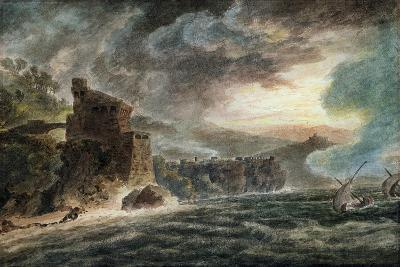 Near Cetara, with Vietri and the Castle of Salerno in the Distance-John Robert Cozens-Giclee Print