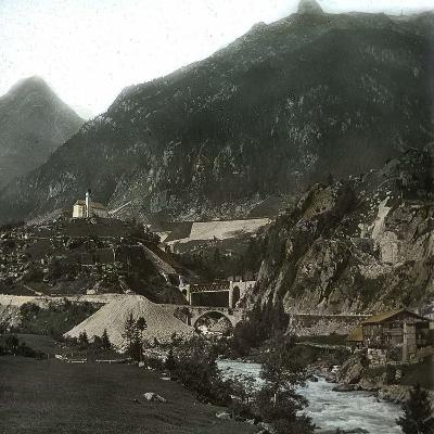 Near Vassen (Switzerland), the Bridge of the Saint-Gothard Railroad, over the Reuss River-Leon, Levy et Fils-Photographic Print