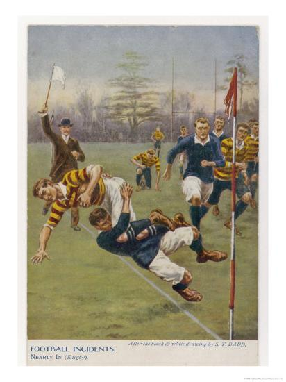 Nearly In!, a Timely Tackle Prevents an Attacking Player from Scoring a Try-S^t^ Dadd-Giclee Print