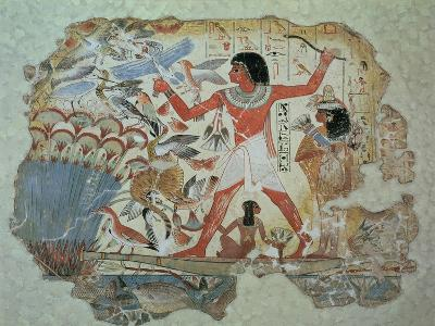 Nebamun Hunting in the Marshes with His Wife an Daughter, Part of a Wall Painting--Giclee Print