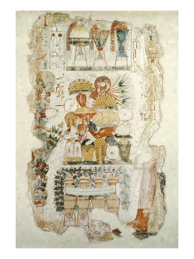 Nebamun Receiving Offerings from His Son, from the Tomb of Nebamun, c.1350 BC--Giclee Print
