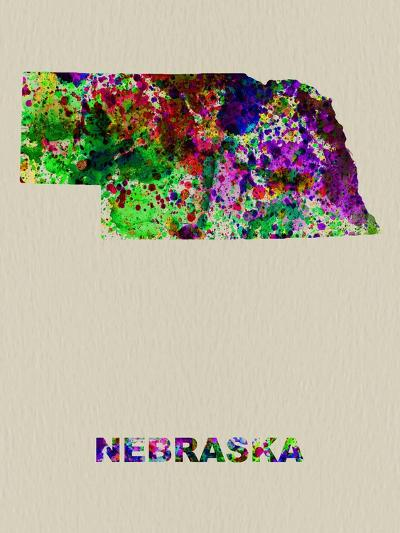 Nebraska Color Splatter Map-NaxArt-Art Print