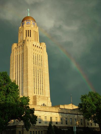 Nebraska, Lincoln, a Rainbow Wraps the State Capitol Building-George Burba-Photographic Print