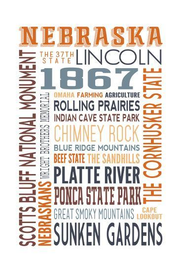 Nebraska - Typography-Lantern Press-Art Print