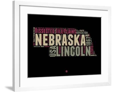 Nebraska Word Cloud 1-NaxArt-Framed Art Print