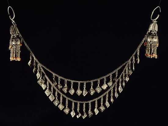 Necklace and Earrings in Wrought Silver and Coral, Uzbekistan--Giclee Print
