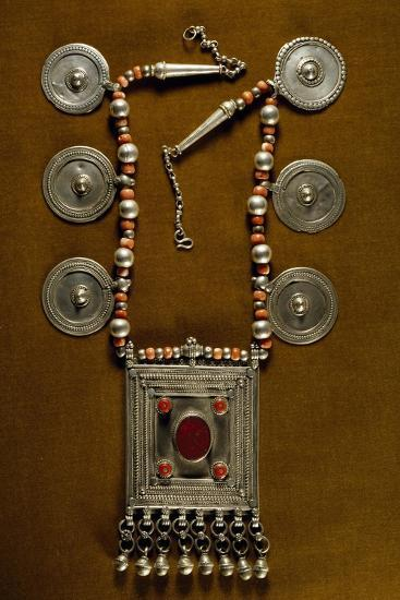 Necklace Composed of String of Beads and Coral with Round Silver Elements--Giclee Print