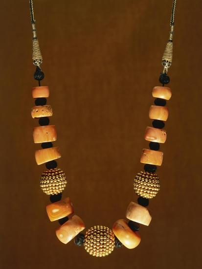 Necklace in Macro-Granular Wrought Gold and Coral, Yemen, 19th-20th Century--Giclee Print