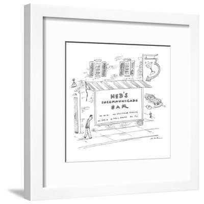Ned's Incommunicado Bar advertises a lack of wi-fi, cellphone service, rad? - New Yorker Cartoon-Michael Maslin-Framed Premium Giclee Print