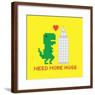 Need More Hugs T-Rex and Skyscraper-dmitriylo-Framed Premium Giclee Print