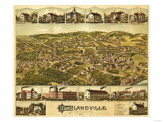 Needham Heights, Massachusetts - Panoramic Map-Lantern Press-Art Print