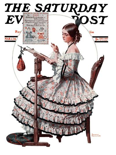 """""""Needlepoint"""" Saturday Evening Post Cover, March 1,1924-Norman Rockwell-Giclee Print"""
