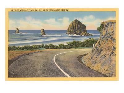 Needles and Haystack Rocks, Oregon Coastal Highway--Art Print