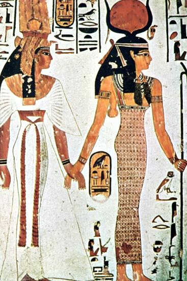 Nefertari and Isis, Ancient Egyptian Wall Painting from a Theban Tomb, 13th Century Bc--Giclee Print
