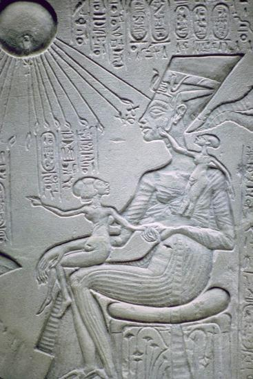 Nefertiti and two of her daughters. Artist: Unknown-Unknown-Giclee Print