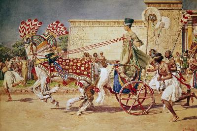 Nefertiti in Her Royal Chariot-Fortunino Matania-Giclee Print