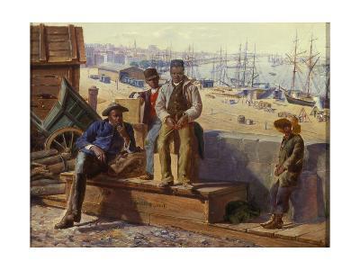 Negro Boys on the Quayside, c.1865-David Norslup-Giclee Print