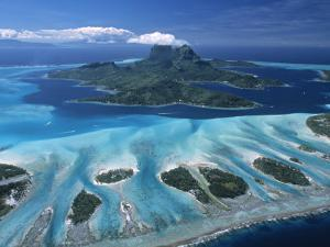 Aerial View over Bora Bora, French Polynesia by Neil Farrin