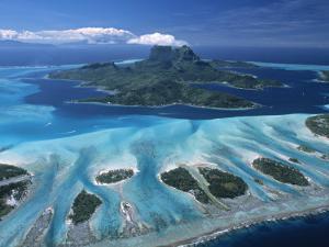 Aerial View over Bora Bora, French Polynesia by Neil Farrin