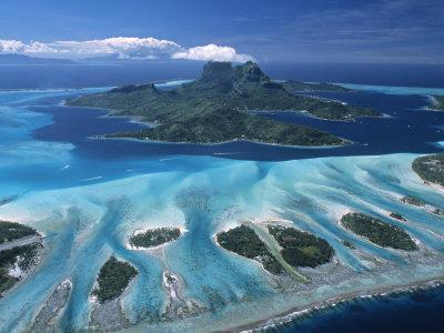 Aerial View over Bora Bora, French Polynesia
