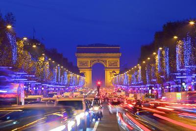 Arc De Triomphe and Xmas Decorations, Avenue Des Champs-Elysees, Paris, France