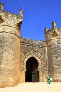 Bab Zaer the Main Gate with Musician, Chellah, Rabat, Morocco, North Africa, Africa by Neil Farrin