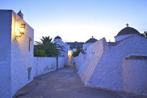 Churches at Dusk with the Monastery of St. John in the Background, Patmos, Dodecanese by Neil Farrin