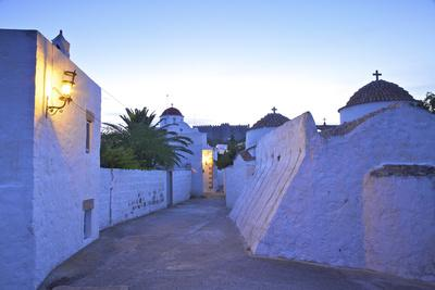 Churches at Dusk with the Monastery of St. John in the Background, Patmos, Dodecanese