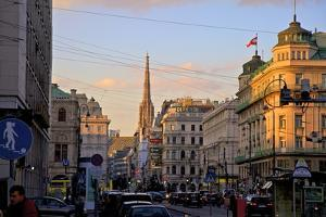 City Scene with St. Stephen's Cathedral in Background, Vienna, Austria, Europe by Neil Farrin