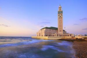 Exterior of Hassan Ll Mosque and Coastline at Dusk, Casablanca, Morocco, North Africa, Africa by Neil Farrin
