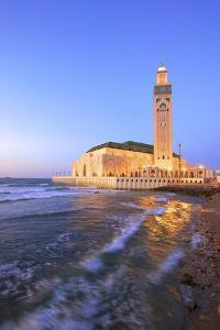Exterior of Hassan Ll Mosque and Coastline at Dusk, Casablanca, Morocco, North Africa by Neil Farrin