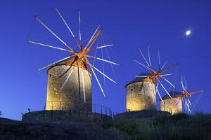 Illuminated Windmills of Chora, Patmos, Dodecanese, Greek Islands, Greece, Europe by Neil Farrin