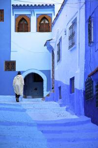 Man in Robe, Chefchaouen, Morocco, North Africa by Neil Farrin