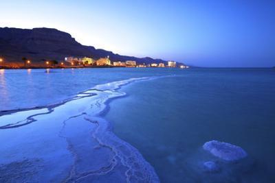 Salt Deposit in Foreground Looking Towards Ein Bokek, Ein Bokek, Dead Sea, Israel, Middle East by Neil Farrin