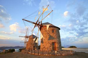 Windmills of Chora, Patmos, Dodecanese, Greek Islands, Greece, Europe by Neil Farrin