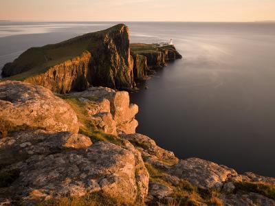 Neist Point and Lighthouse Bathed in Evening Light, Isle of Skye, Highland-Lee Frost-Photographic Print
