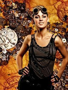 Steampunk Girl Over Grunge Background by NejroN Photo