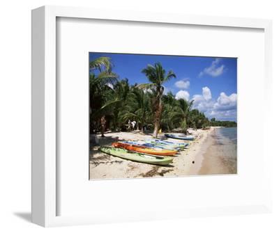 Beach with Palm Trees and Kayaks, Punta Soliman, Mayan Riviera, Yucatan Peninsula, Mexico